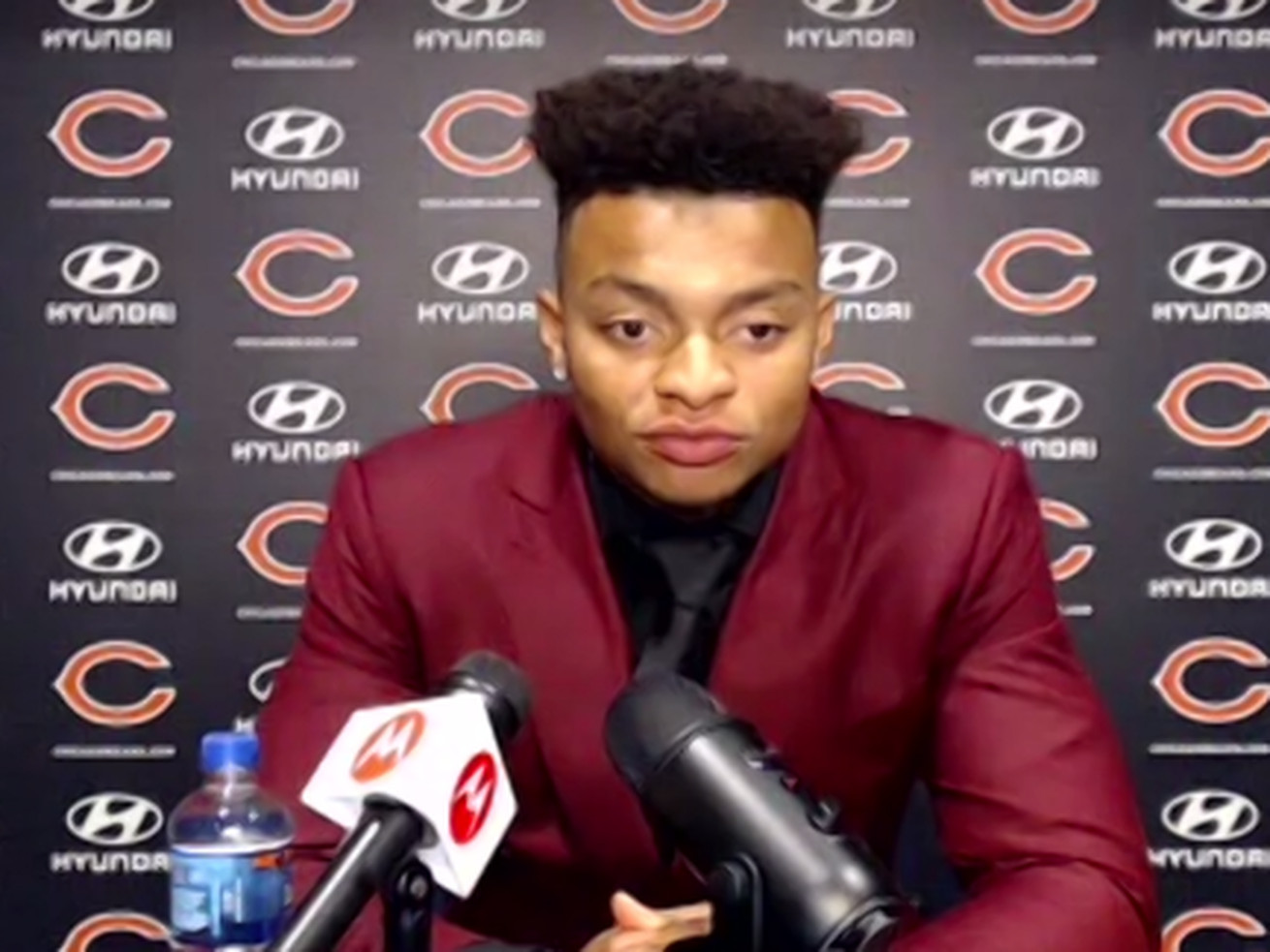 Justin Fields met the media via Zoom from at Halas Hall on Friday.