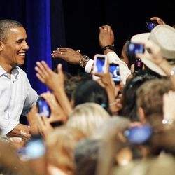 President Barack Obama greets supporters at the Palm Beach County Convention Center in West Palm Beach, Fla., during a campaign stop Sunday, Sept. 9, 2012.