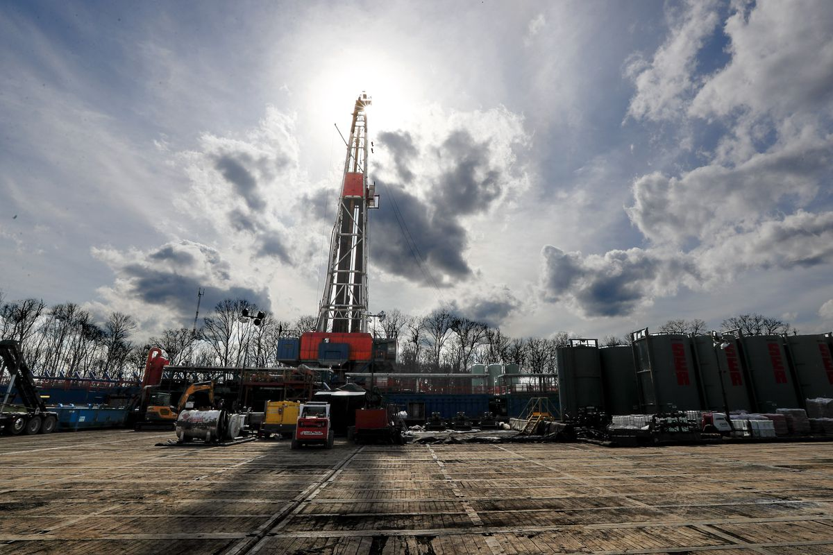Sun shines on a gas drilling site in Pennsylvania this March 2020 file photo. T