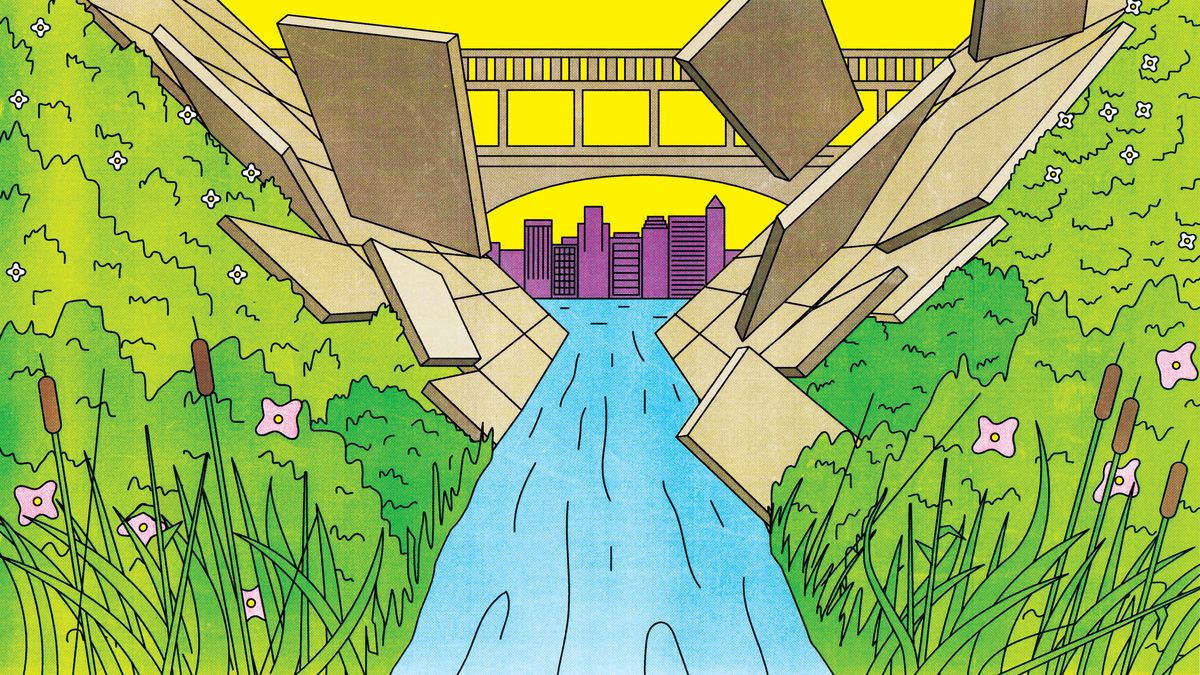 Geometric concrete slabs fit into place along a river. There's a bridge and city landscape in the distance. Illustration.