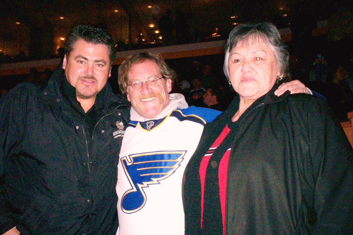 With Coach Oshie and his Mother (T.J.'s Grandma) at a game