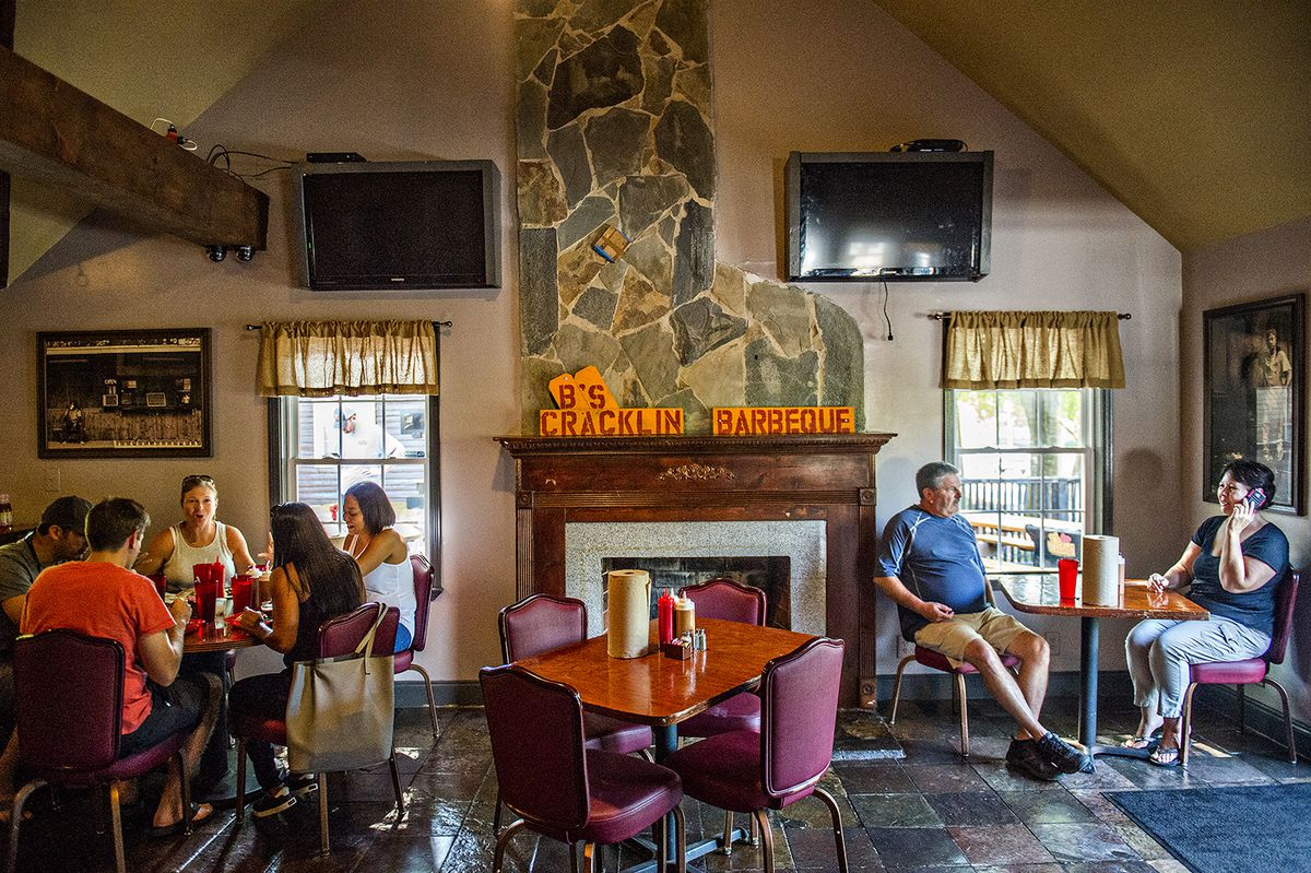 Inside the dining room at B's Cracklin' Barbecue in Riverside.