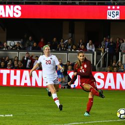 Alex Morgan scores the second goal for the USWNT on the night.