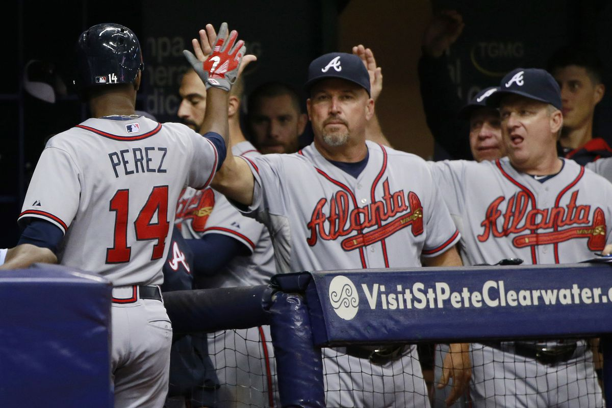 little known fact, the back of Fredi Gonzales head is also used by Braves staff to dry their hands