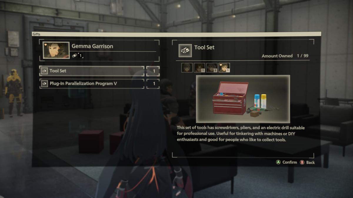 A gift information screen in Scarlet Nexus
