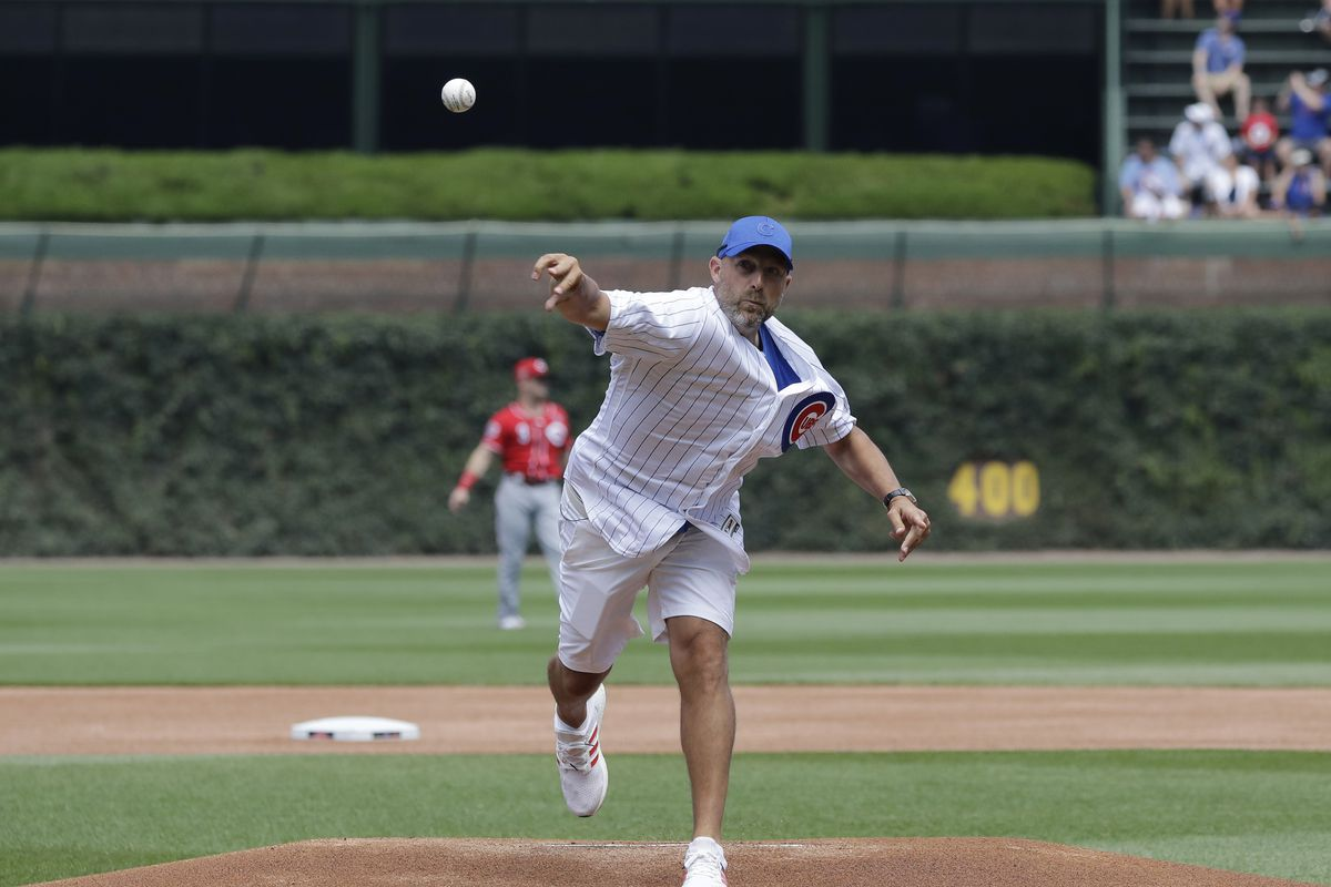Bears coach Matt Nagy throws out the first pitch at a July Cubs game at Wrigley Field.