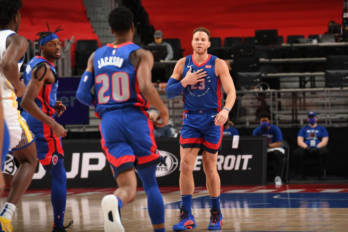 Blake Griffin of the Detroit Pistons celebrates during the game against the Golden State Warriors on December 29, 2020 at Little Caesars Arena in Detroit, Michigan.
