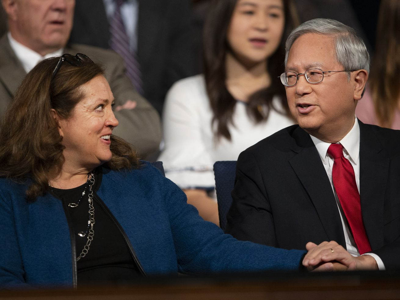 FILE - Sister Susan Gong looks over at her husband, Elder Gerrit W. Gong of the Quorum of the Twelve Apostles, prior to him speaking at a BYU campus devotional on Tuesday, Oct. 16, 2018.