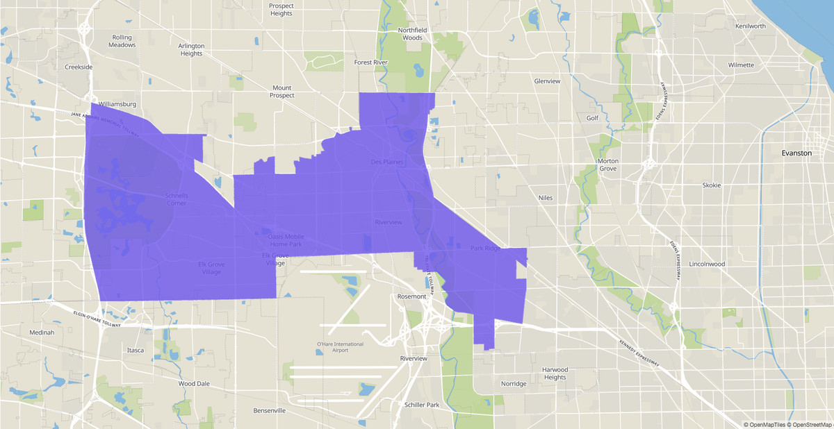 Illinois House 54th District map, 2020 election