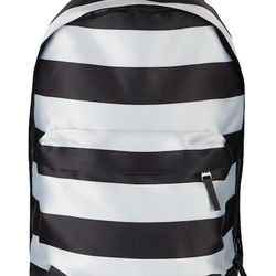 """<strong>Raf Simons x Eastpak</strong> Large Horizontal Striped Backpack in Black/Silver, <a href=""""http://www.openingceremony.us/products.asp?menuid=1&designerid=1855&productid=86650"""">$295</a> at Opening Ceremony"""