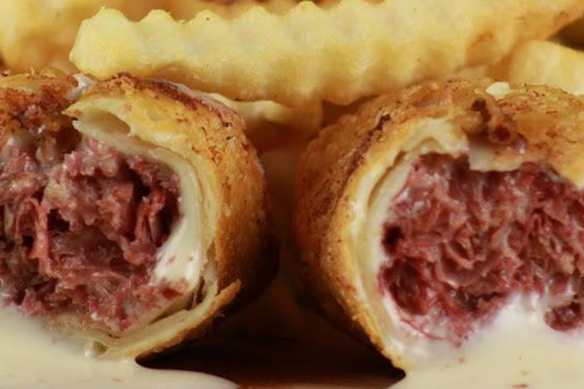 Corned Beef Eggrolls with French fries