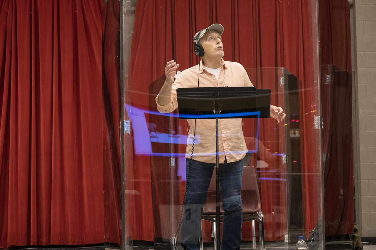 "Larry Yando records the role of Scrooge for the Goodman Theatre's audio play of ""A Christmas Carol."""