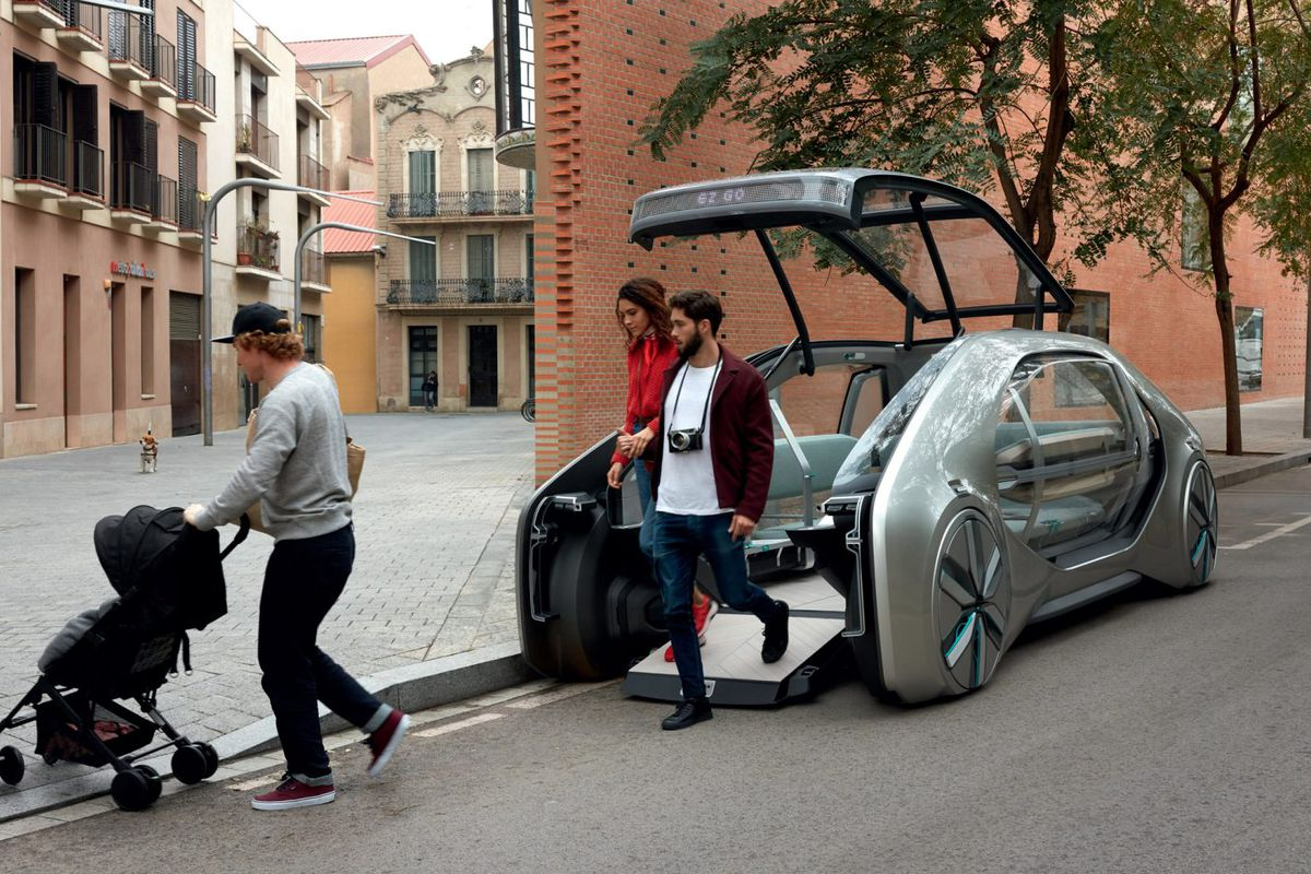 The Autonomous Electric Car Can Be Hailed By An Or At Dedicated Stations