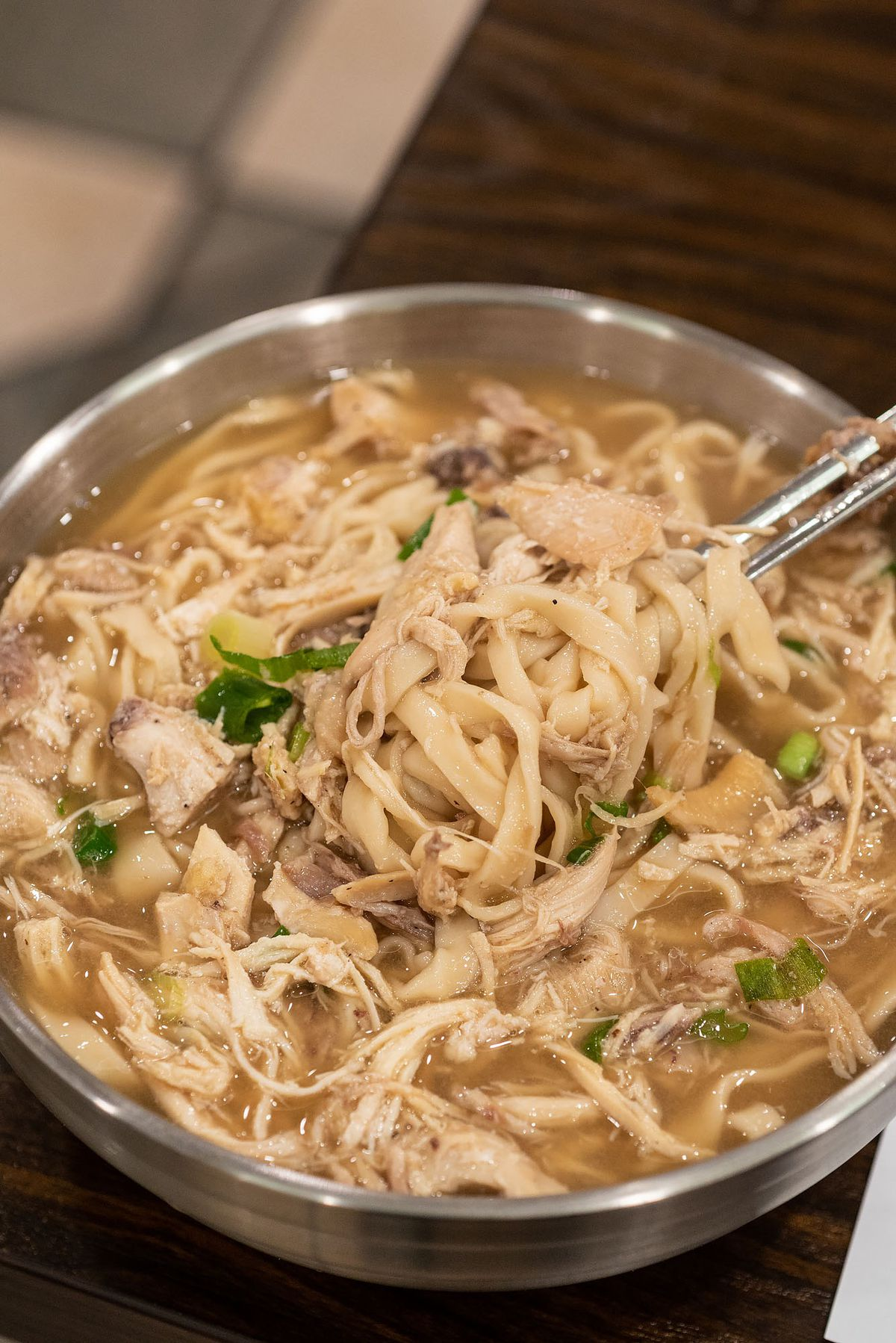 Chicken knife-cut noodle soup at Hyesung Noodle House.