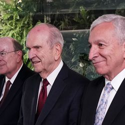President Russell M. Nelson of The Church of Jesus Christ of Latter-day Saints, center, answers a question during an interview in Bogota, Colombia, on Monday, Aug. 26, 2019. At left is Elder Quentin L. Cook of the Quorum of the Twelve Apostles. At right is Elder Enrique R. Falabella, General Authority Seventy of The Church of Jesus Christ of Latter-day Saints. They previously met with President Ivan Duque of Colombia.