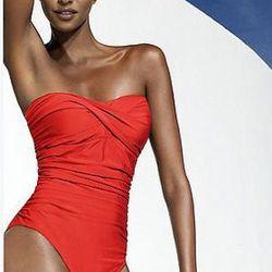 "<a href= ""http://www.newport-news.com/one-piece-twist-front-bandeau-control-swimsuit-by-shape-fx.html"">Newport News one piece twist front bandeau swimsuit</a>, $44"