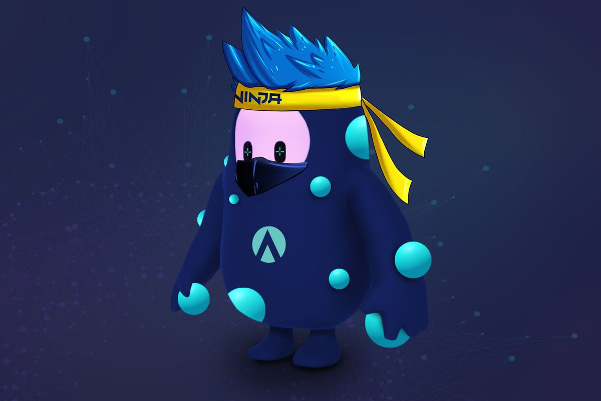 """A Fall Guys """"bean"""" character, given a bandana and blue hair to resemble the streamer Ninja, and a shirt with the Aim Lab logo"""