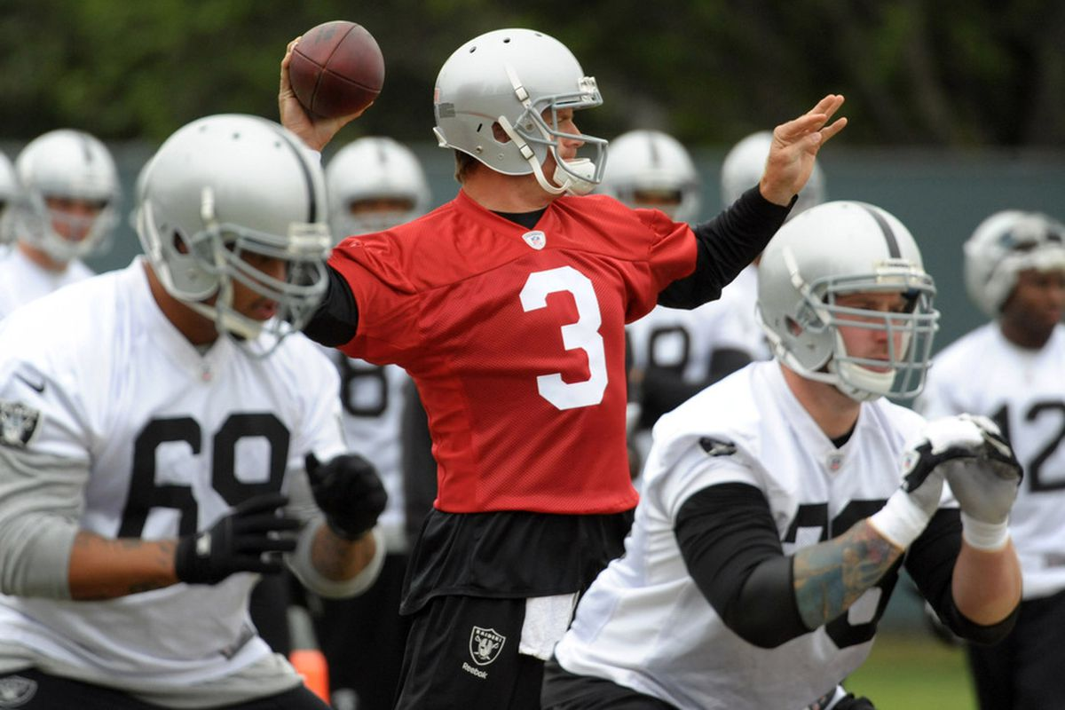 May 15, 2012; Alameda, CA, USA; Oakland Raiders quarterback Carson Palmer (3) throws a pass at organized team activities at the Raiders practice facility. Mandatory Credit: Kirby Lee/Image of Sport-US PRESSWIRE