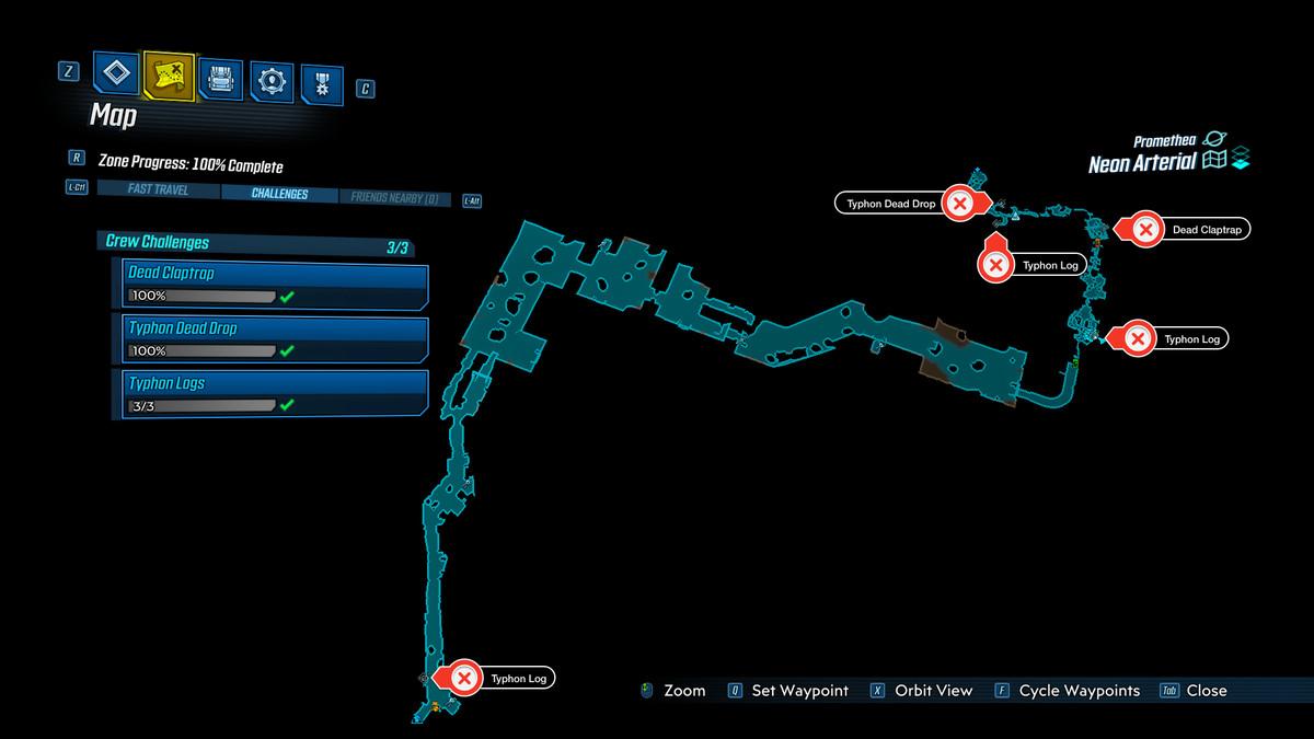 Borderlands 3 Neon Arterial map