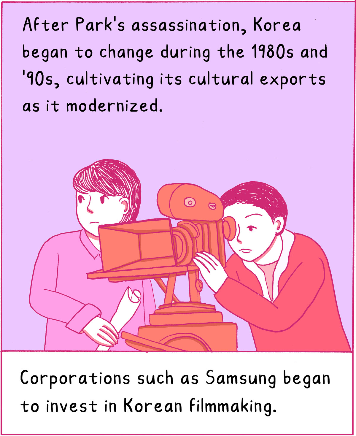 After his assassination, Korea began to change during the 1980s and 90s, and with its modernization, to cultivate its cultural exports. Corporations like Samsung began to invest in Korean filmmaking.