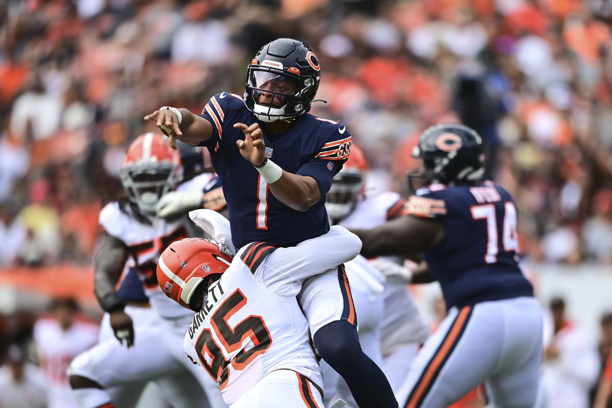Bears quarterback Justin Fields did not have a turnover despite being sacked nine times and being constantly under pressure against the Browns last week.
