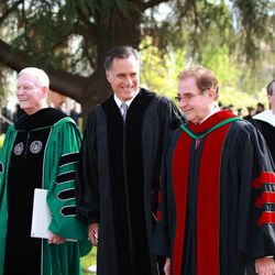 Mitt Romney walks with Southern Virginia University President Paul K. Sybrowsky and Chairman Glade Knight prior to commencement exercises on April 27, 2013.