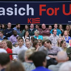 Supporters gather in the Grande Ballroom to listen to Ohio Gov. John Kasich as he holds a Town Hall meeting at UVU Friday, March 18, 2016.