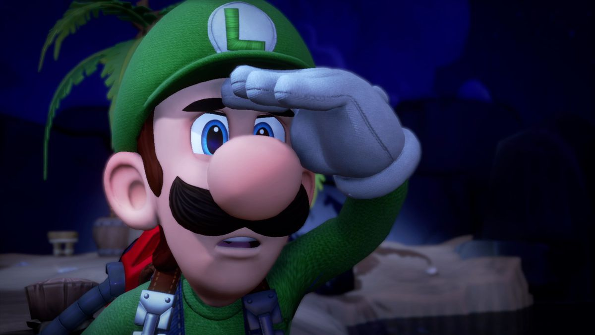 Close up of Luigi looking off into the horizon.