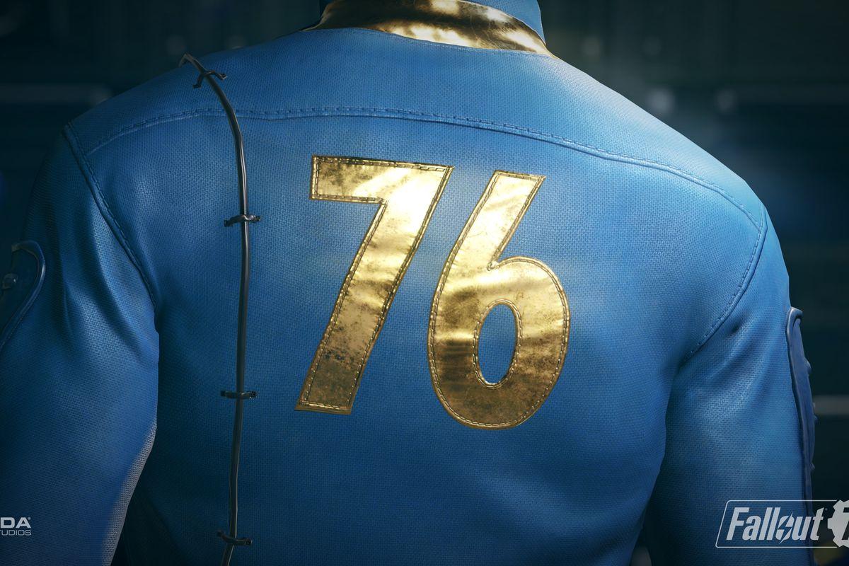 Fallout 76 - back of vault dweller's Vault 76 suit
