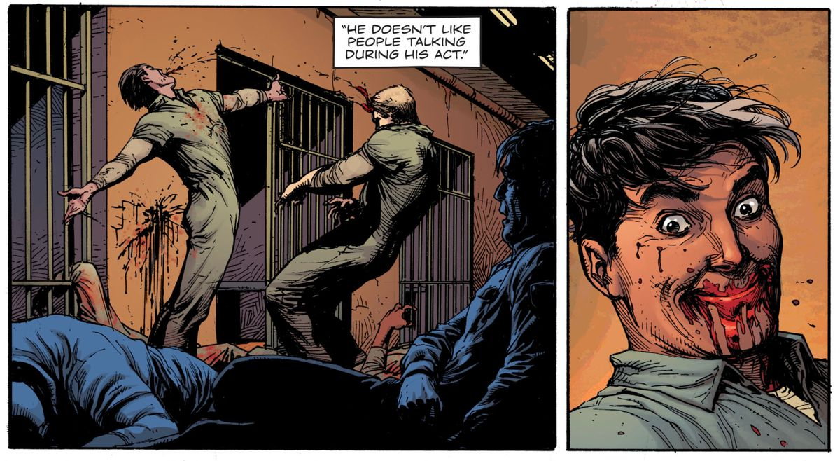 Marcos Maez, the Mime, beats the inmates who were beating him, in Doomsday Clock #1 (2017), DC Comics