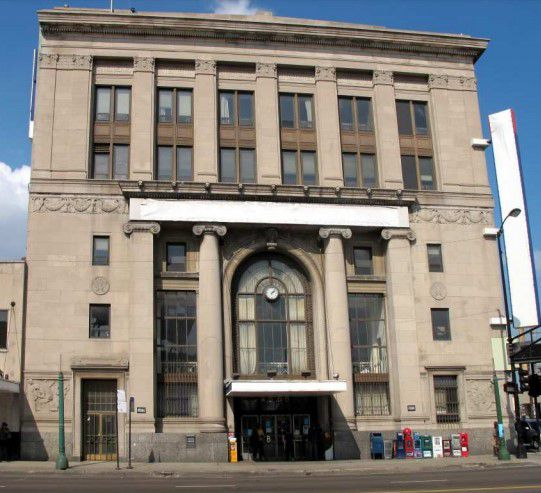 The former Pioneer Bank building, an example of Classical Revival style, at 4000 W. North Ave.