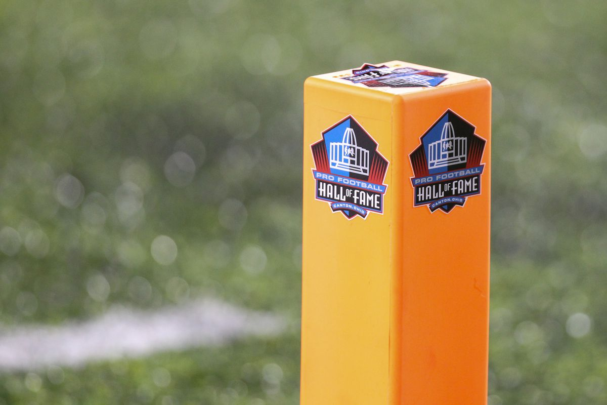 A general view of the end zone marker is seen during the Hall of Fame Game between the Atlanta Falcons and the Denver Broncos played at Tom Benson Hall of Fame Stadium in Canton, Ohio.