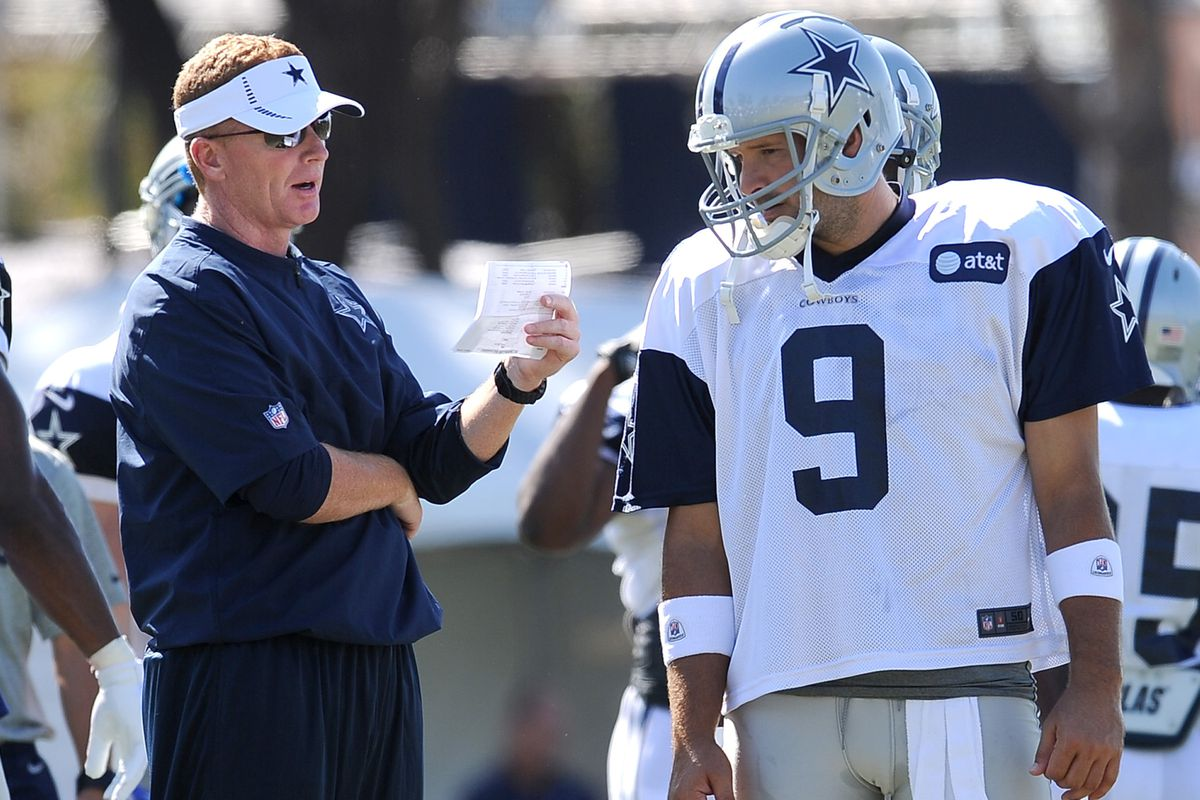 Aug.1, 2012; Oxnard, CA, USA;  Dallas Cowboys quarterback Tony Romo (9) talks with Dallas Cowboys head coach Jason Garrett during training camp drills. Mandatory Credit: Jayne Kamin-Oncea-US PRESSWIRE