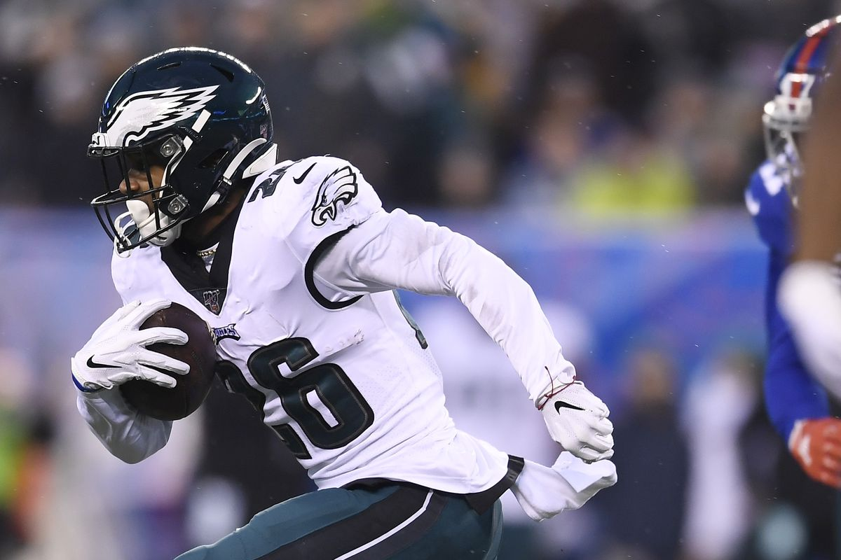 Miles Sanders of the Philadelphia Eagles carries the ball during the first half of the game against the New York Giants at MetLife Stadium on December 29, 2019 in East Rutherford, New Jersey.