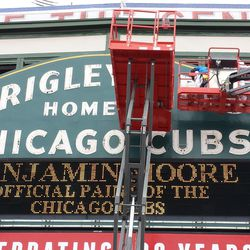 Closeup of sign, nearly completed