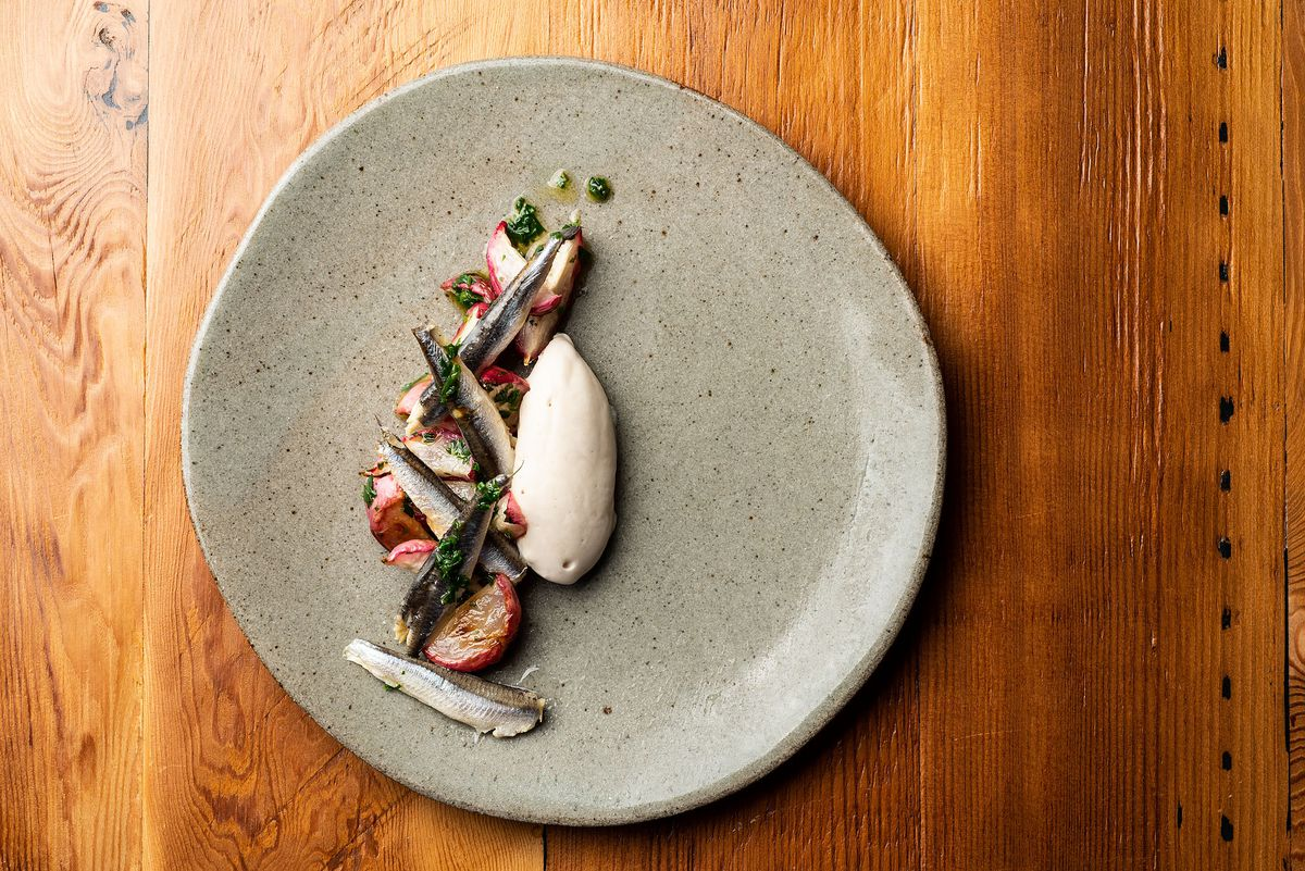 Mind Fish Co. tuna and anchovy goat butter with herb roasted radishes