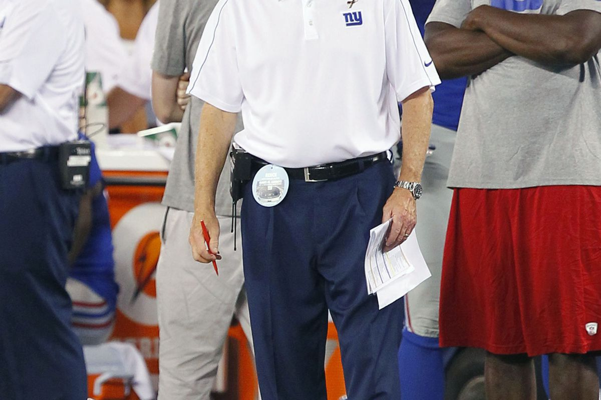 Sep 5, 2012; East Rutherford, NJ, USA;  New York Giants head coach Tom Coughlin during the second half against the Dallas Cowboys at MetLife Stadium. Dallas Cowboys defeat the New York Giants by a score of 24-17. Jim O'Connor-US PRESSWIRE