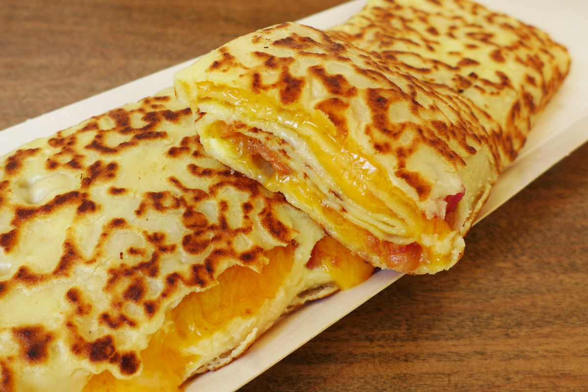 Egg, ham, and cheese crepe