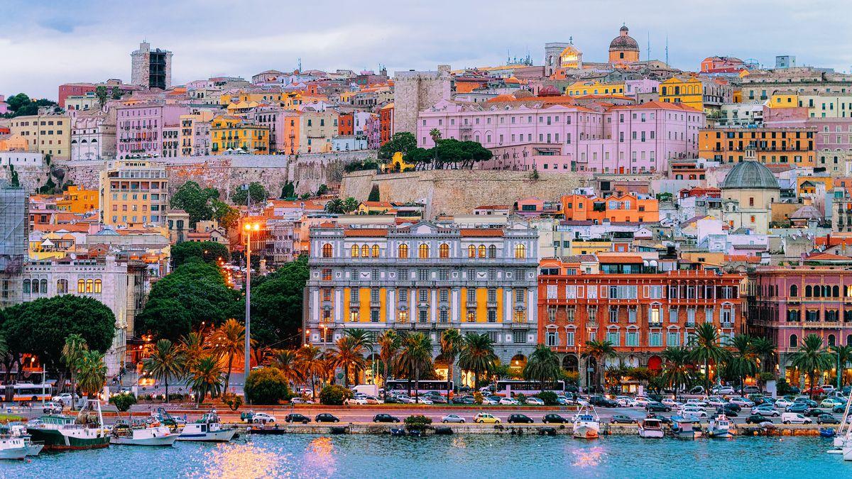 A Sardinian coastal city at twilight