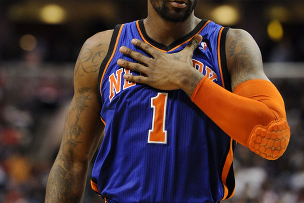 Mar 21, 2012; Philadelphia, PA, USA; New York Knicks forward Amar'e Stoudemire (1) during the second quarter against the Philadelphia 76ers at the Wells Fargo Center. The Knicks defeated the Sixers 82-79. Mandatory Credit: Howard Smith-US PRESSWIRE