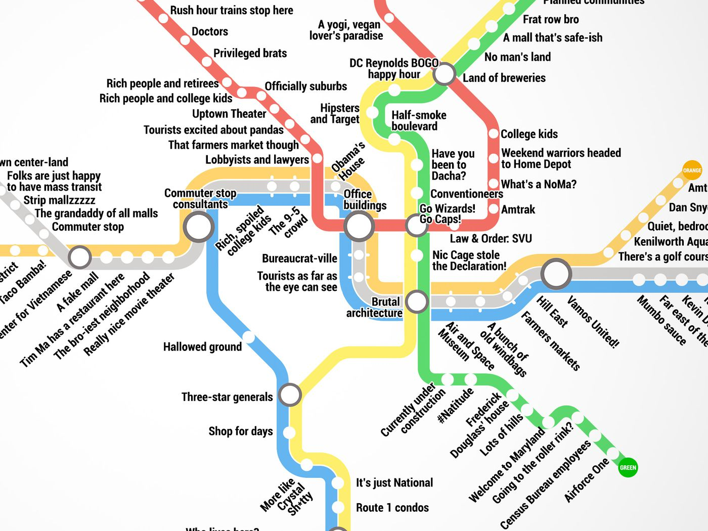 Map Of Metro Dc Thrillist just created the most accurate D.C. Metro map ever