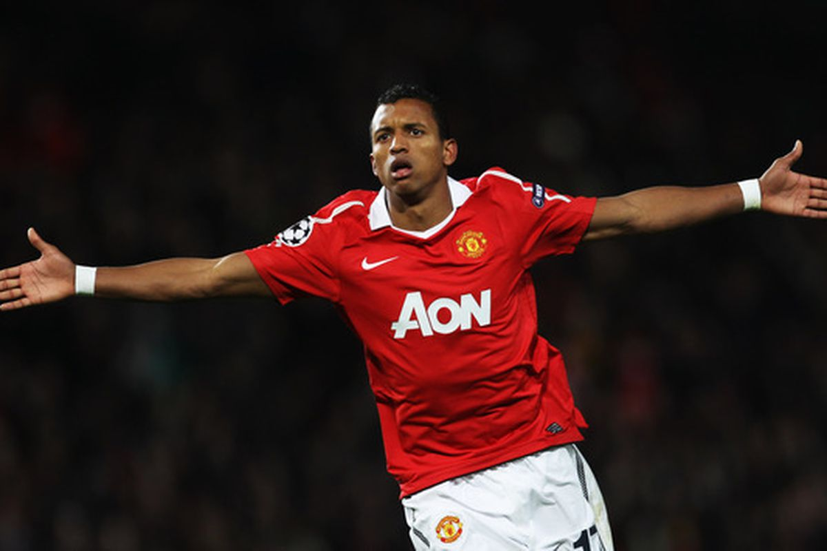 Nani returned after a 3 game absence to notch a goal and an assist in 2-1 victory for Manchester United over Stoke City at Old Trafford  (Photo by Alex Livesey/Getty Images)