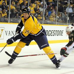Nashville Predators defenseman Hal Gill (75) keeps the puck from Minnesota Wild right wing Jed Ortmeyer (41) during the first period of an NHL hockey game on Tuesday, April 3, 2012, in Nashville, Tenn.