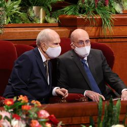 President Russell M. Nelson, of The Church of Jesus Christ of Latter-day Saints, left, and President Henry B. Eyring, second counselor in the First Presidency, attend the Saturday evening session of the 191st Semiannual General Conference at the Conference Center in Salt Lake City Saturday, Oct. 2, 2021.