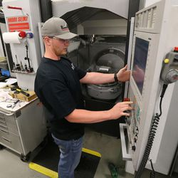 Machinst Devin Gray works at Paramount Machine in Salt Lake City on Friday, June 16, 2017. Talent Ready Utah recently awarded 12 Utah partnerships with $2.12 million in grants to better meet Utah's skilled workforce needs.