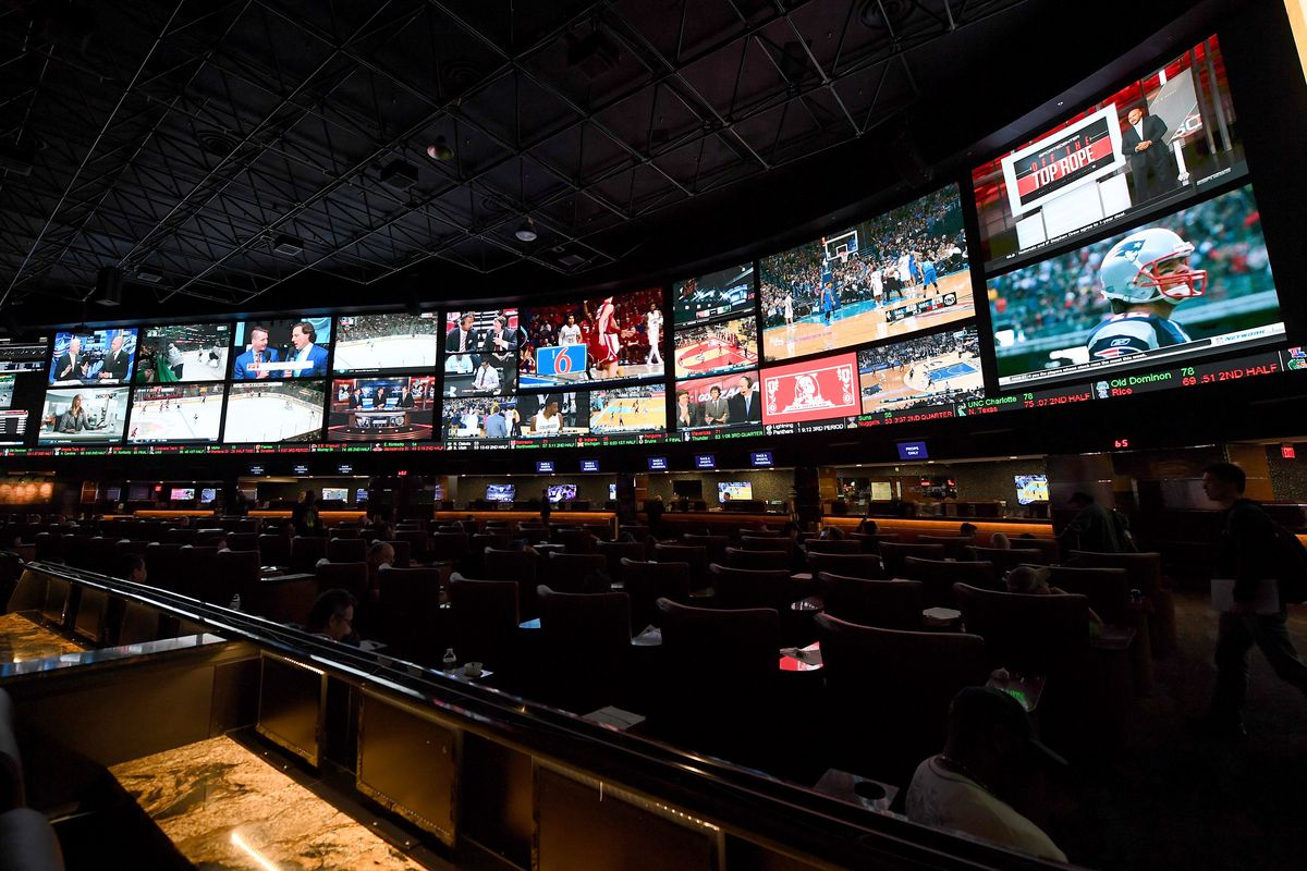 A general view shows the Race & Sports SuperBook at the Westgate Las Vegas Resort & Casino before 400 proposition bets for Super Bowl 51 between the Atlanta Falcons and the New England Patriots were posted on January 26, 2017 in Las Vegas, Nevada