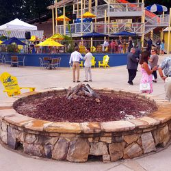 Fire pits are peppered around the party cove.