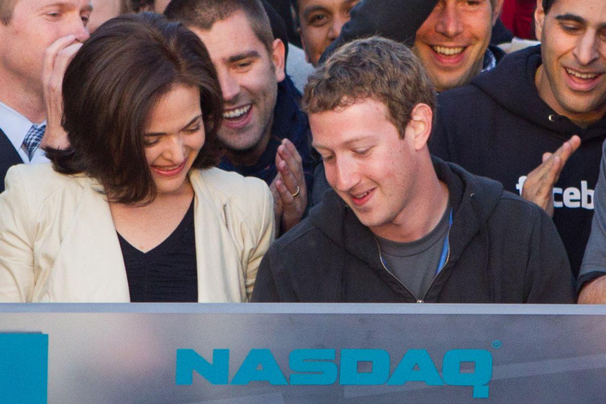 Zuckerberg and Sandberg at NASDAQ Facebook IPO