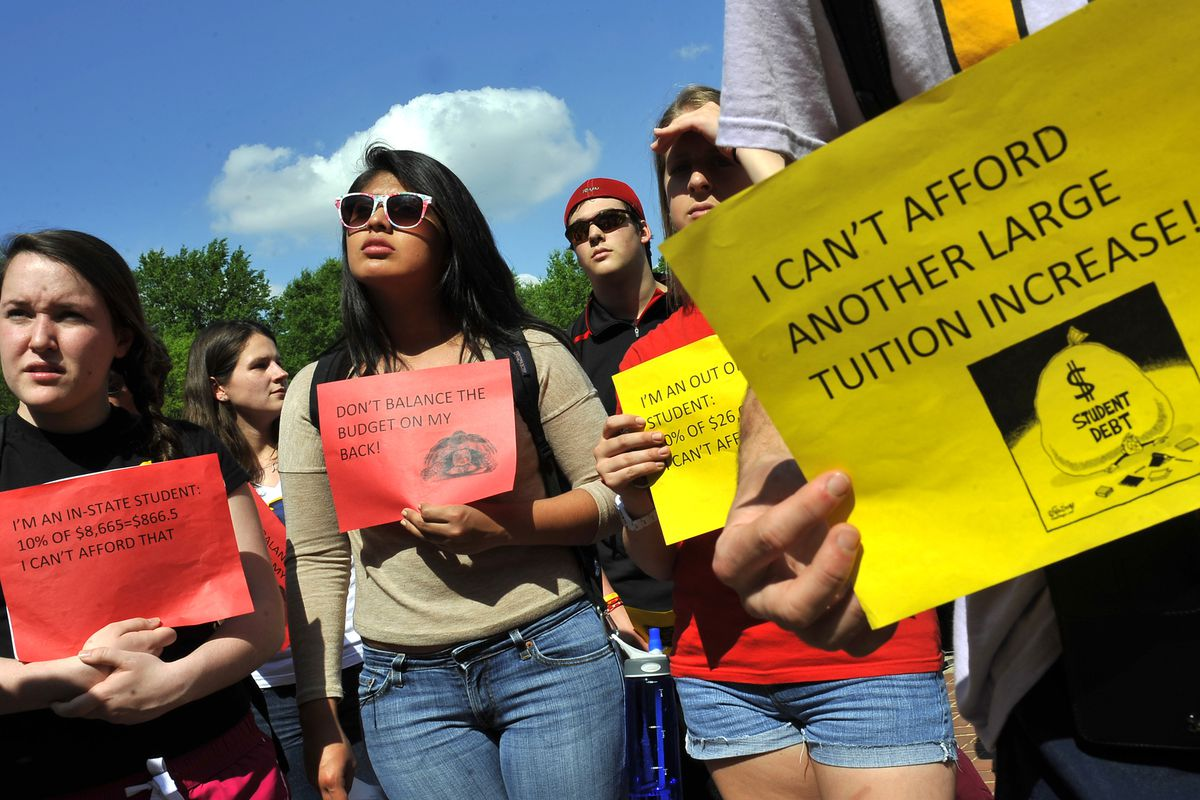Students protest a proposed budget that would increase tuition at the University of Maryland in 2012.