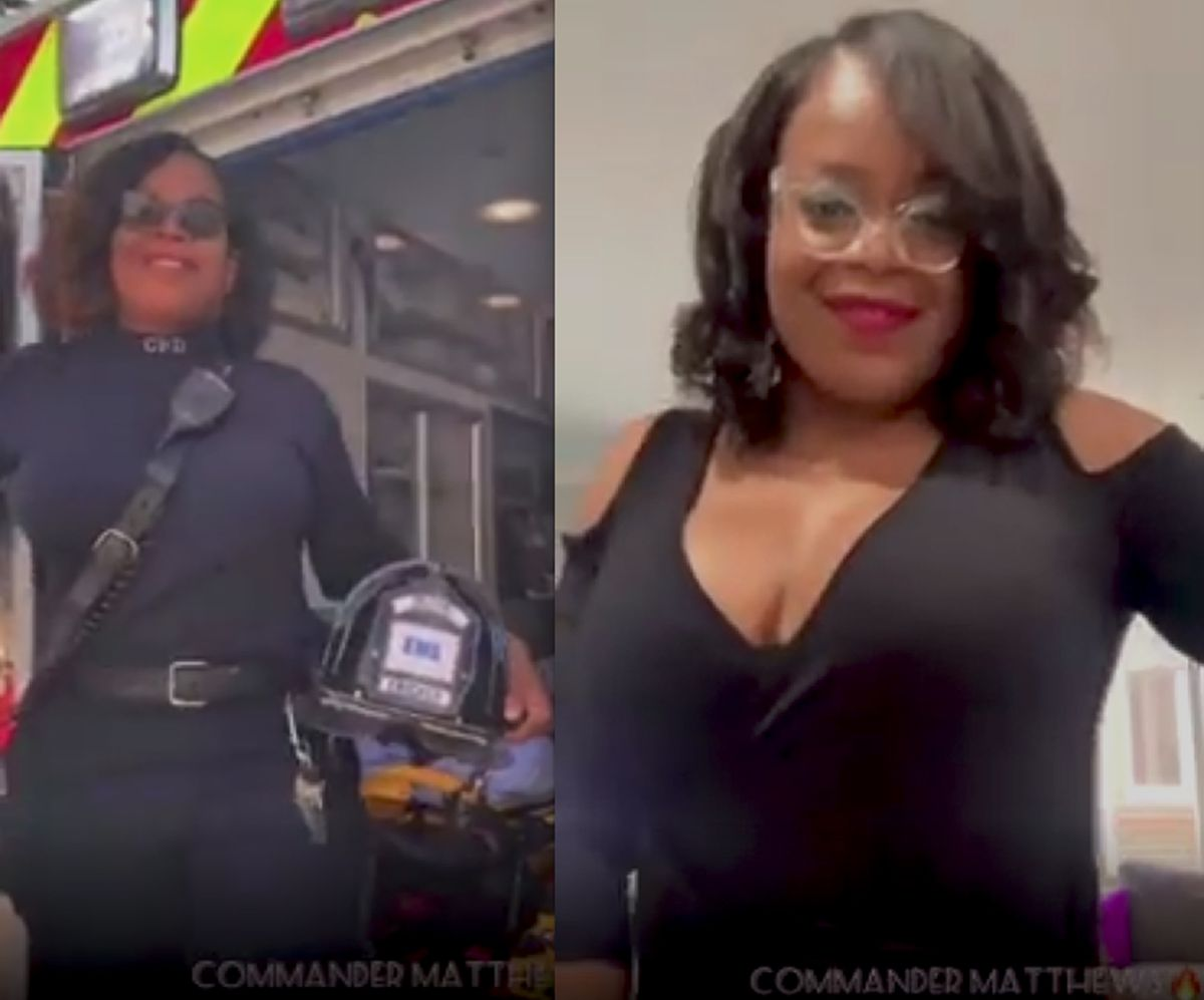 """A video apparently shot at several Chicago Fire Department locations features several firefighters in uniform. As part of the popular """"Don't Rush Challenge"""" on TikTok, the firefighters are then shown at home, dressed up for a night out."""